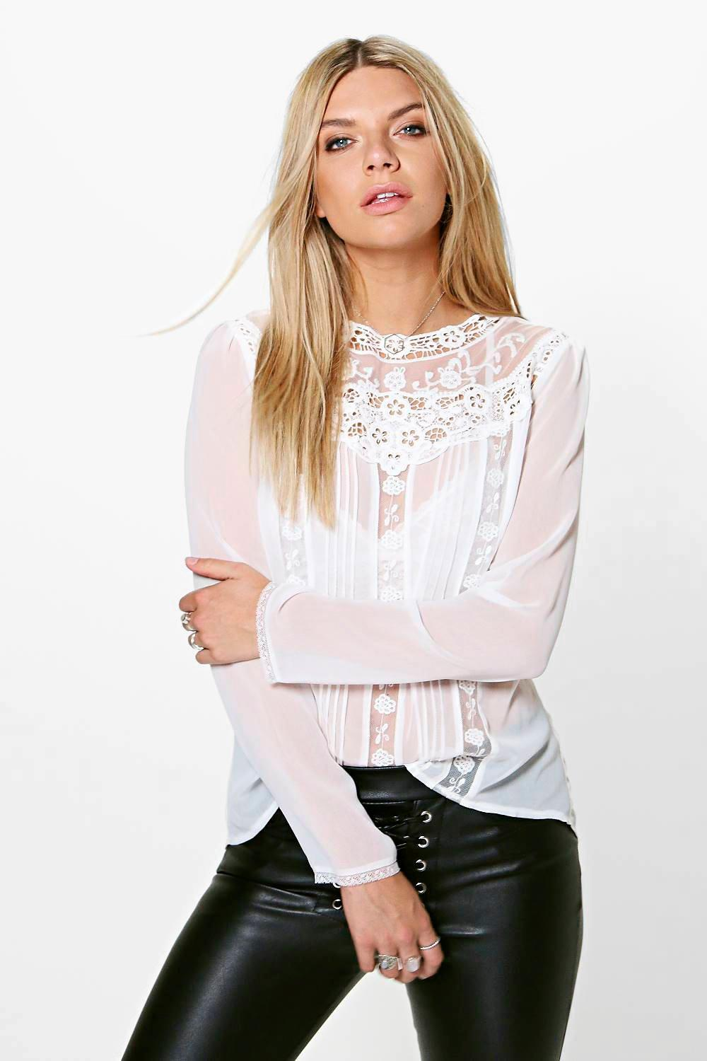 Imogen Button Back Crochet Blouse