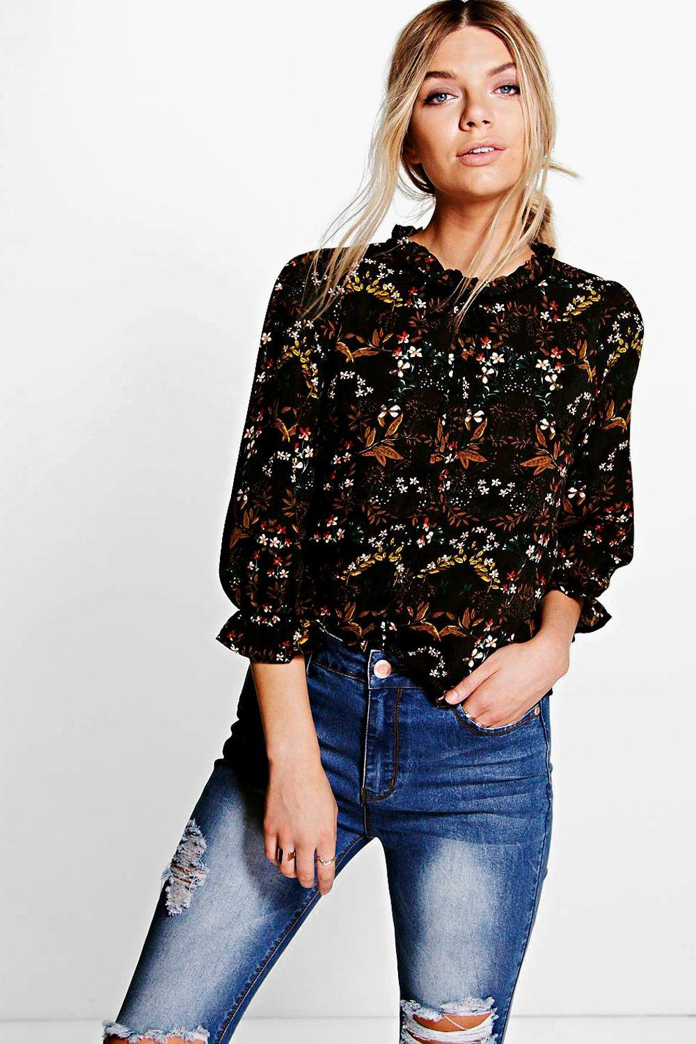 Megan Tie Neck Floral Print 3/4 Sleeve Blouse