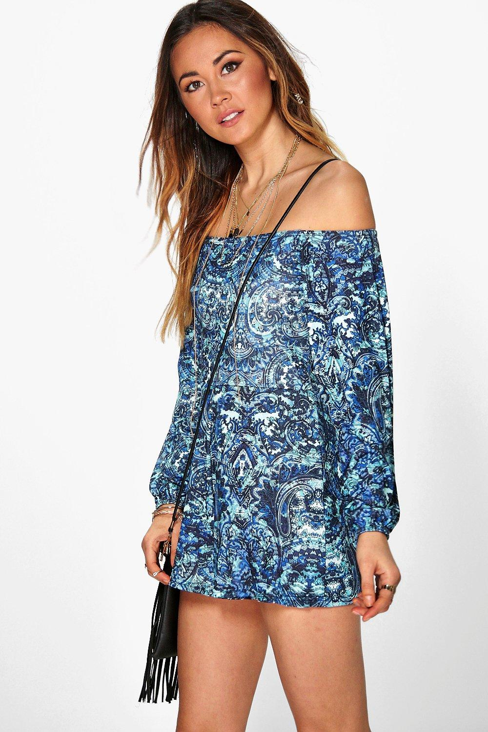 Nia Blue Paisley Off The Shoulder Playsuit