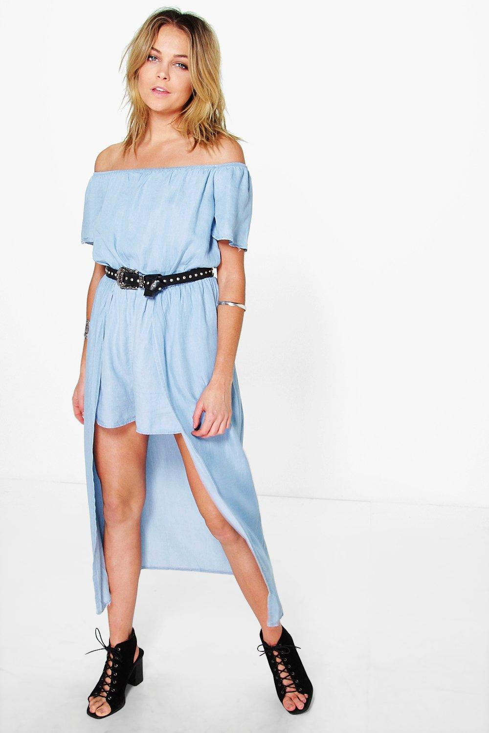 Sophia Off The Shoulder Denim Overlay Playsuit