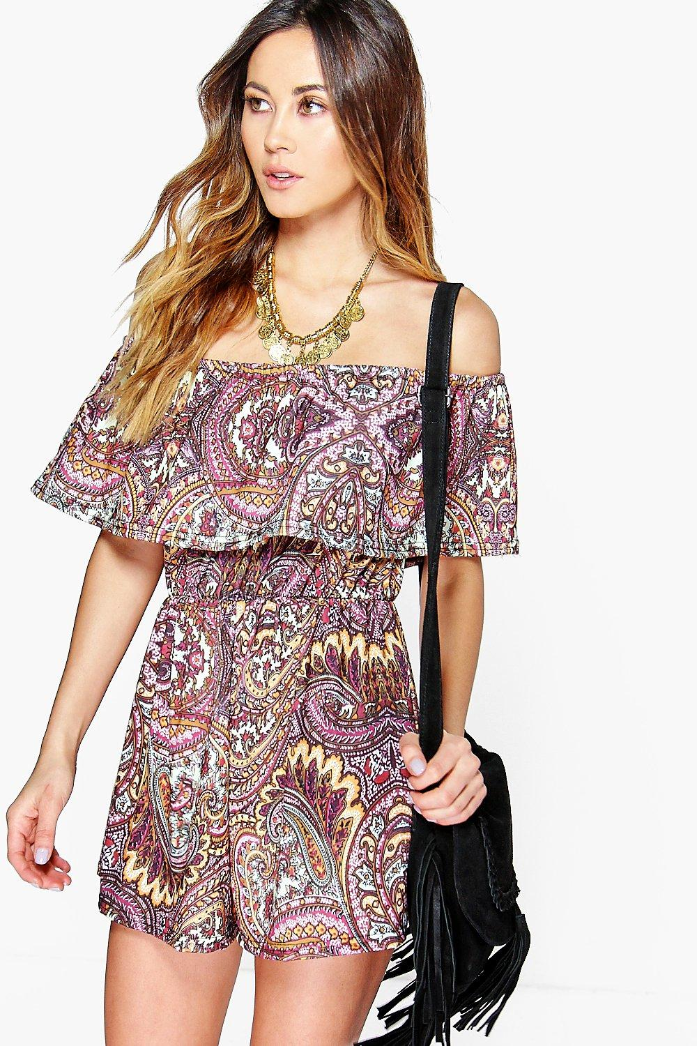 Eve Multi Paisley Print Off The Shoulder Playsuit