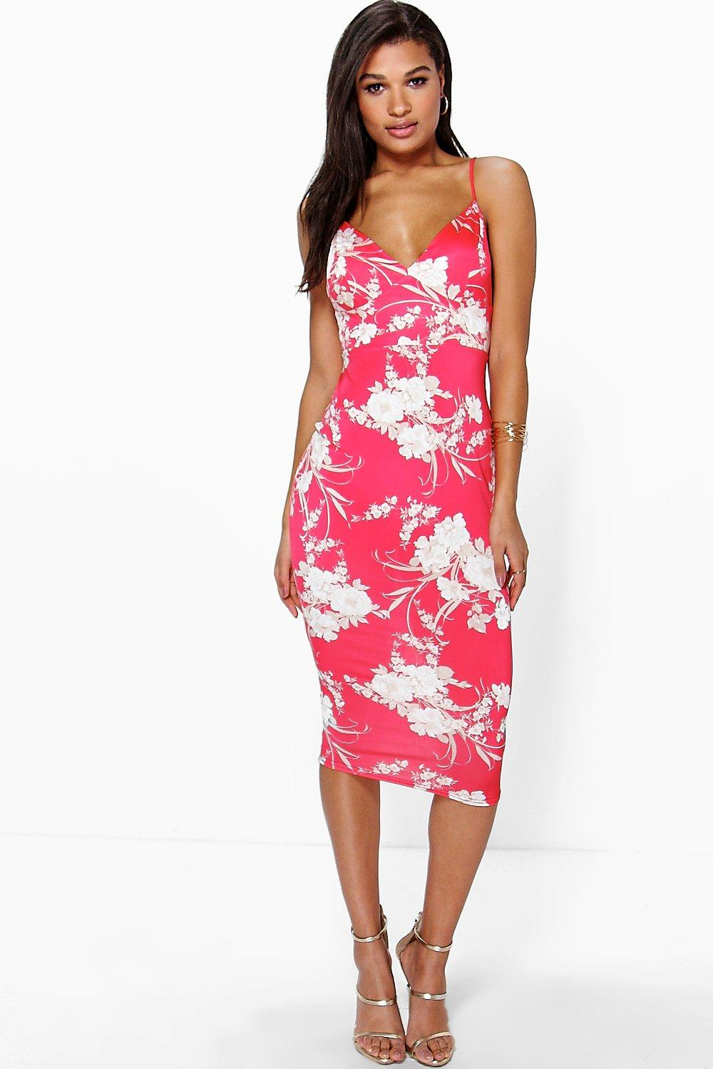 Joslyn Oriental Plunge Neck Midi Dress