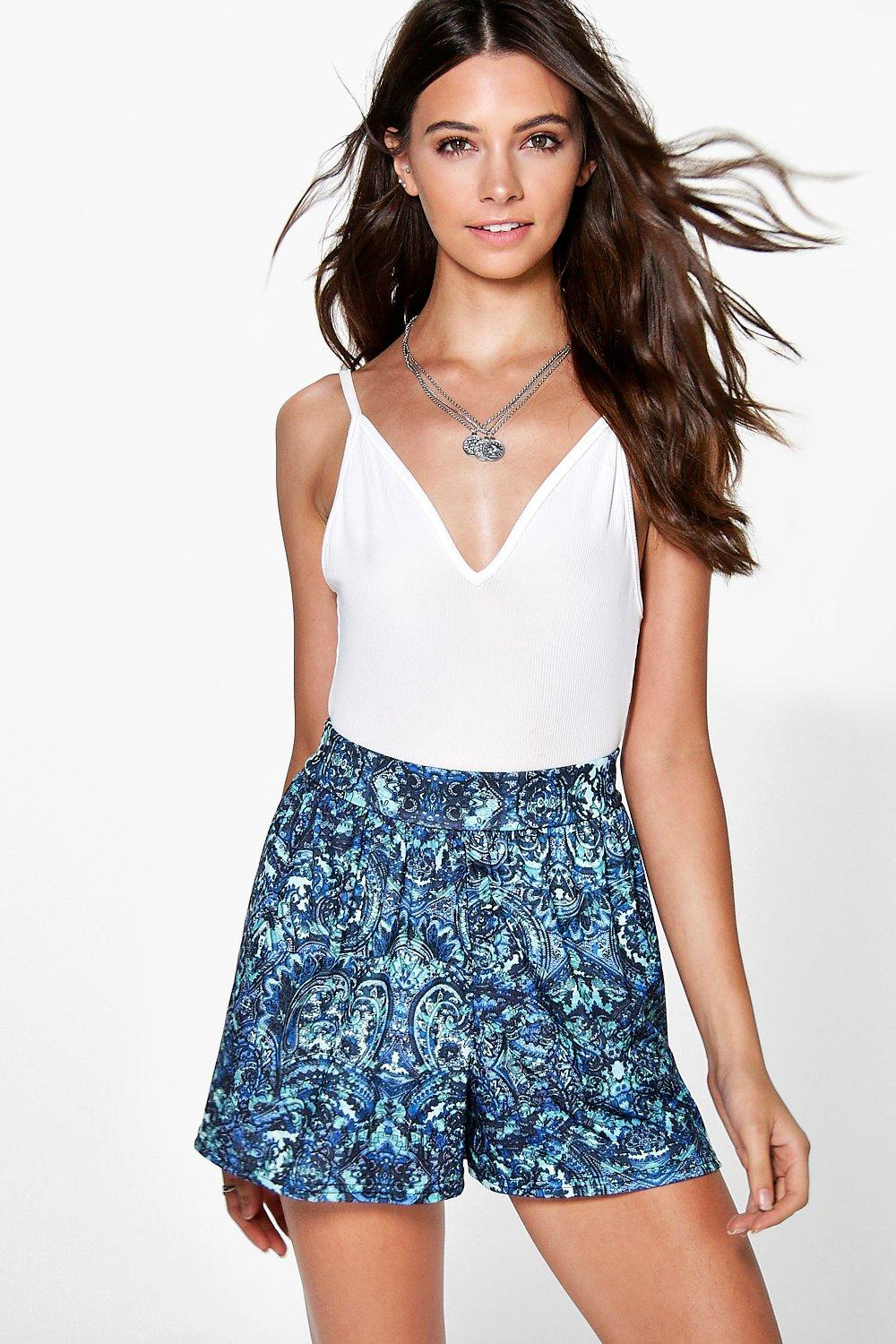 Lucy Blue Paisley Print Flippy Shorts