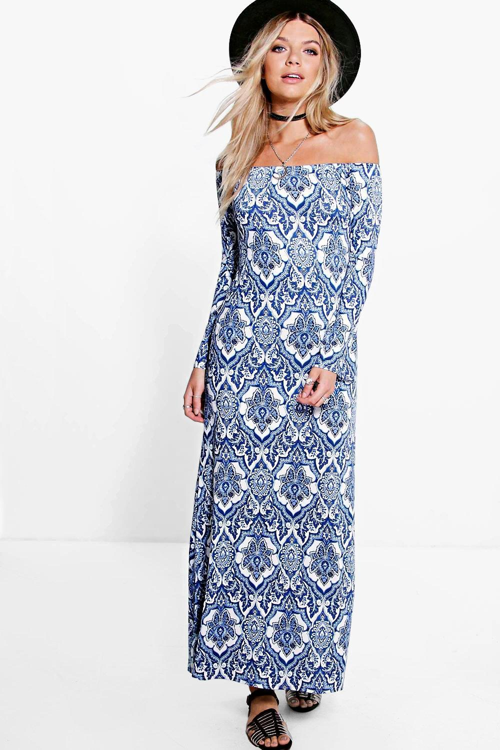 Ria Paisley Off Shoulder Flared Sleeve Maxi Dress