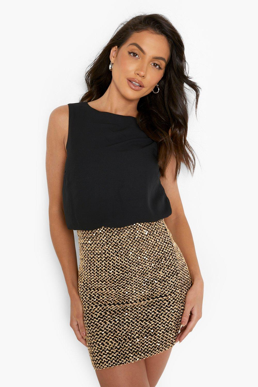 Delia 2 in 1 Chiffon Top Sequin Skirt Bodycon Dress at boohoo.com