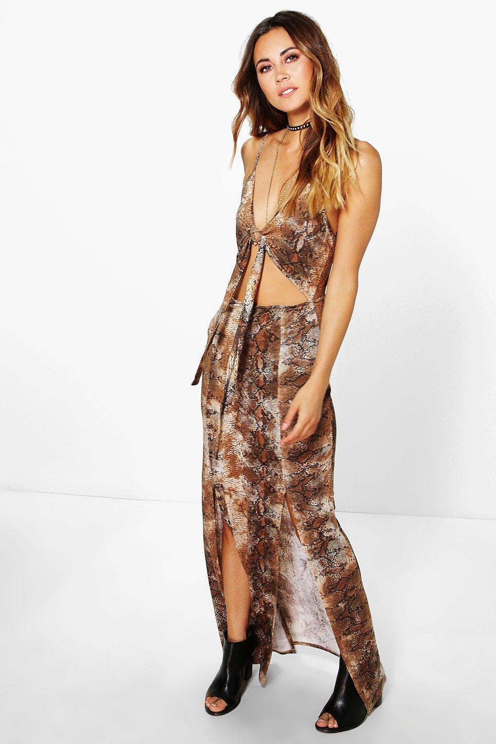 Theodora Snake Knot Front Split Maxi Dress