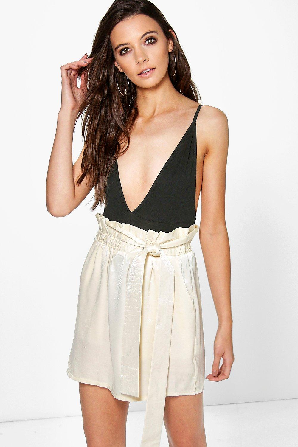 Honor Tie Waist Satin Mini Skirt at boohoo.com