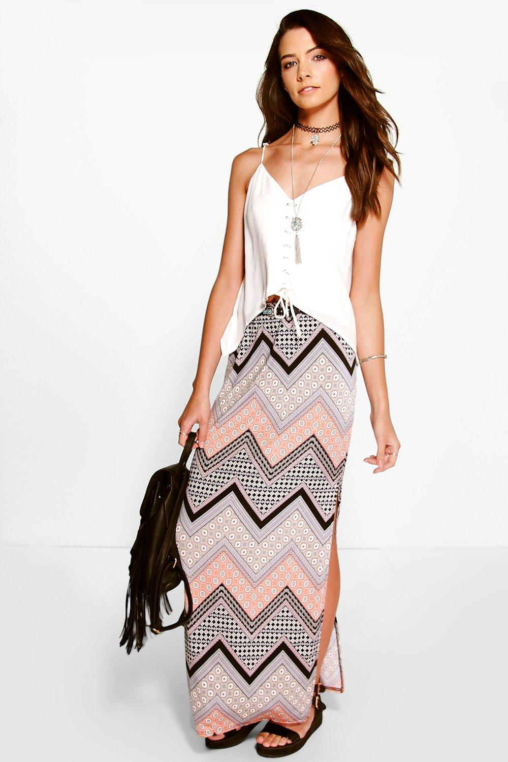 Zandi Side Split Aztec Maxi Skirt