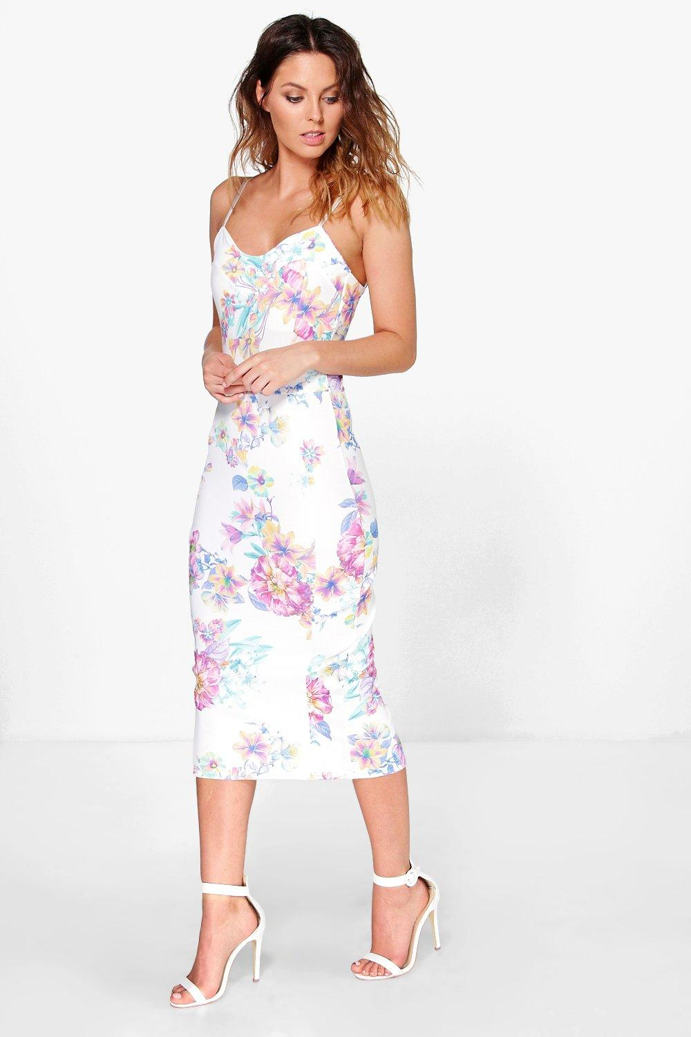 Cora Strappy Sweetheart Floral Midi Bodycon Dress