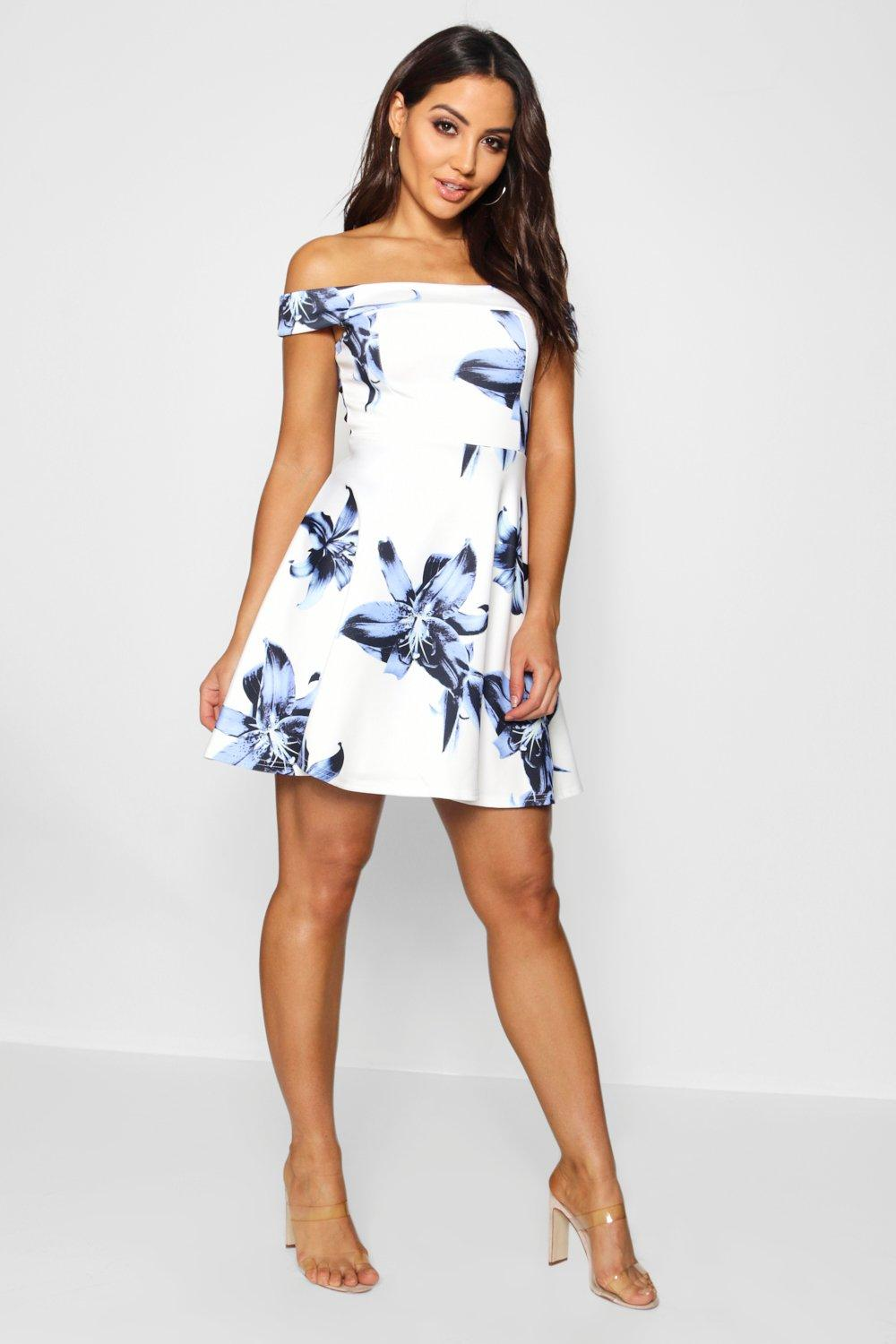 Carmellita Floral Off The Shoulder Skater Dress