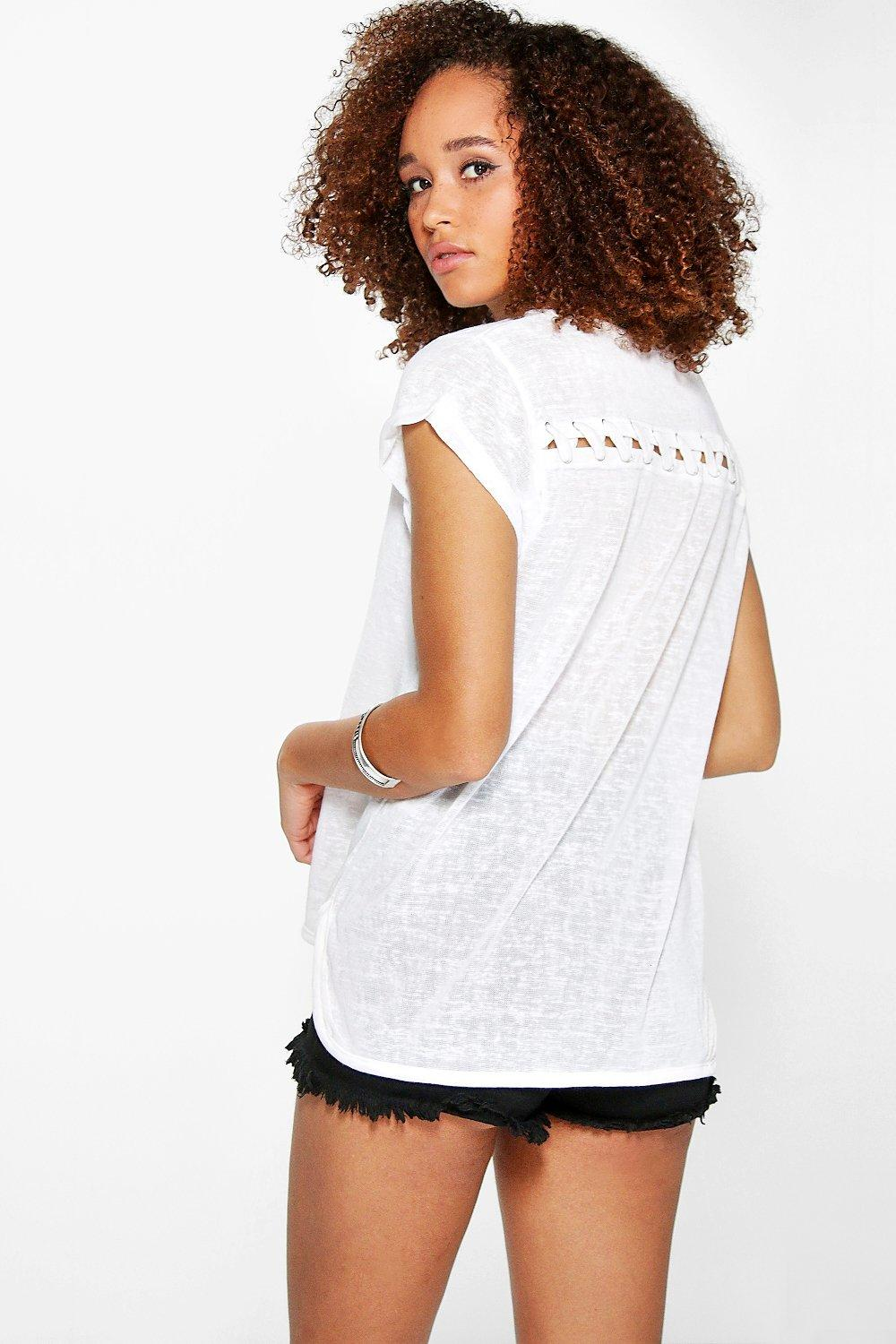 Evie Lace Up Back Premium Tee