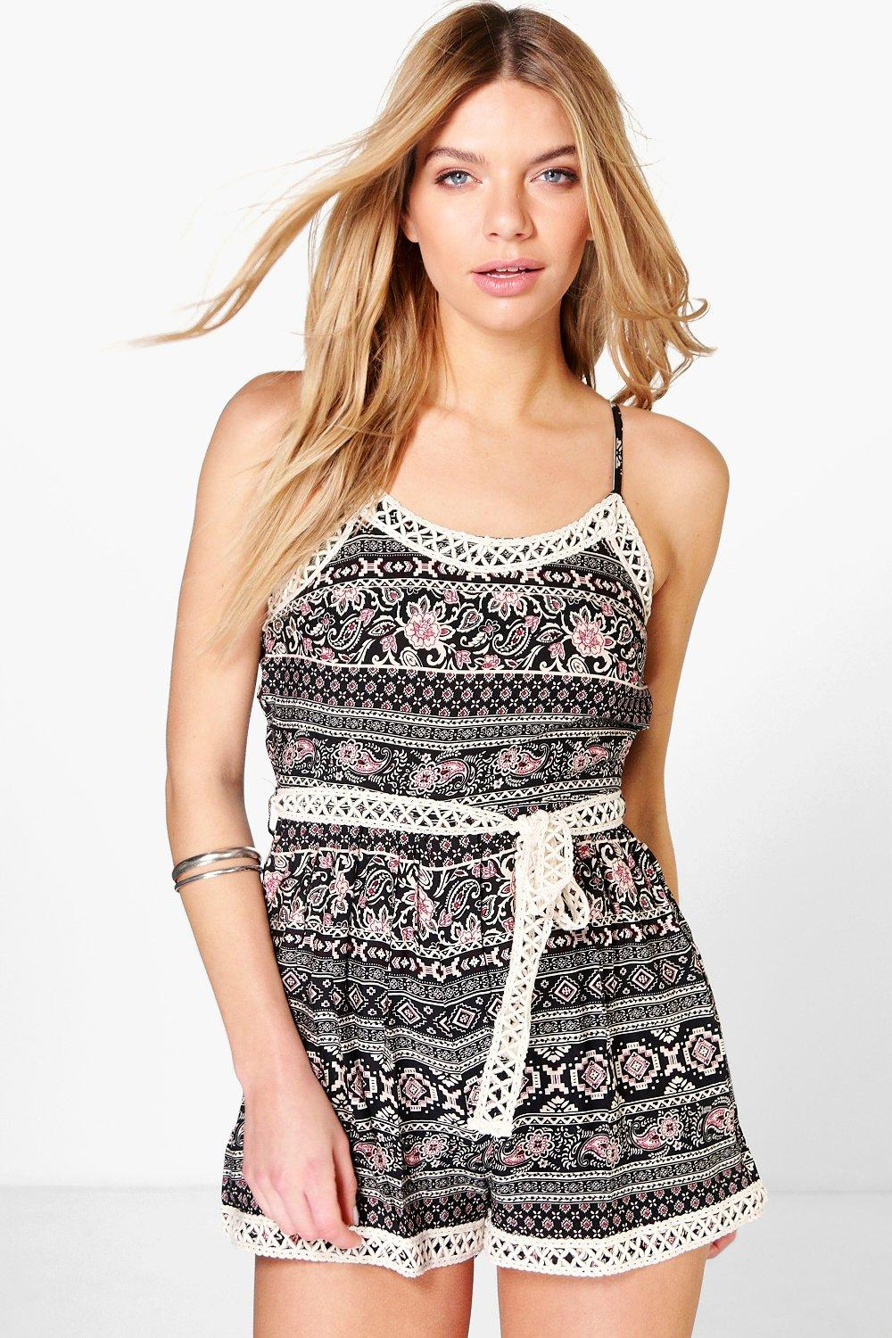 Alice Printed Crochet Trim Playsuit