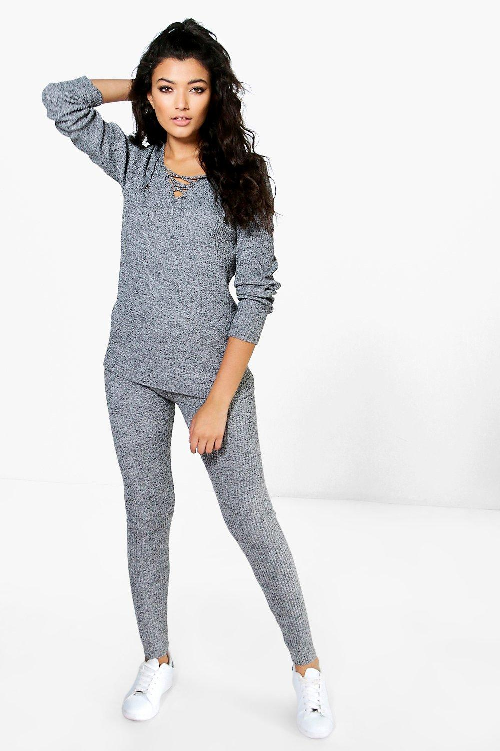 Lara Marl Ribbed Lace Up Knitted Loungewear Set