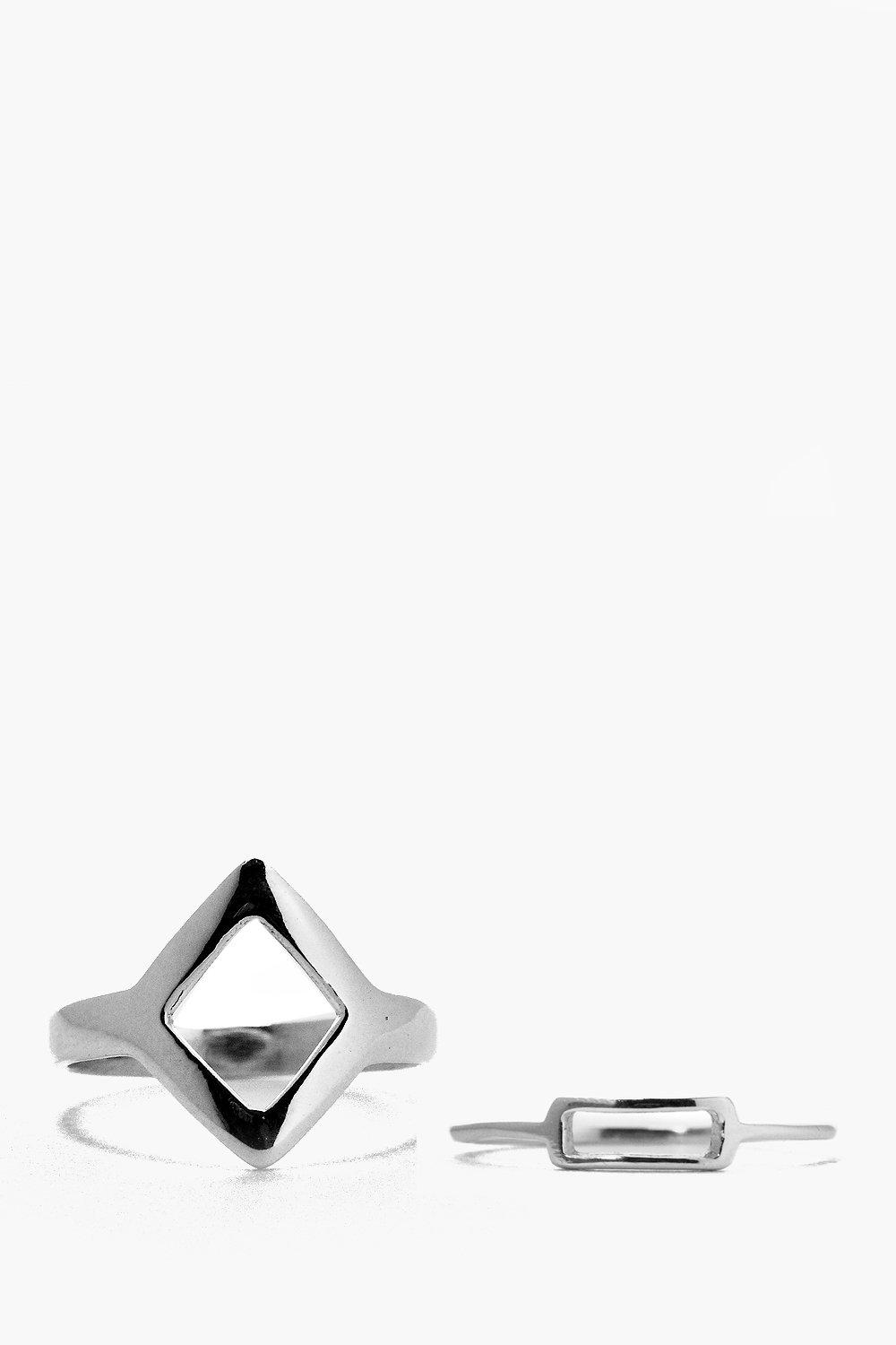 Boutique Sterling Silver Geo Ring Pack