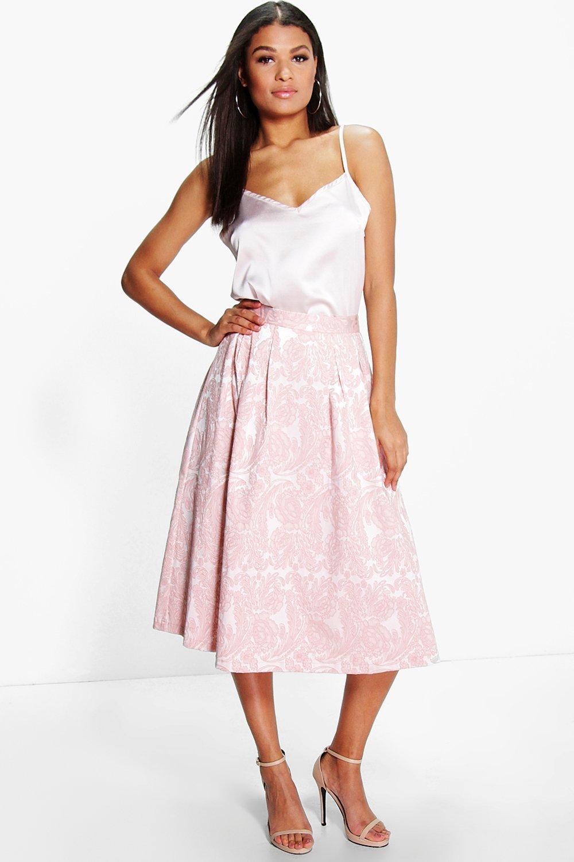 Boutique Ida Cami & Jacquard Midi Skirt Co-Ord Set at boohoo.com