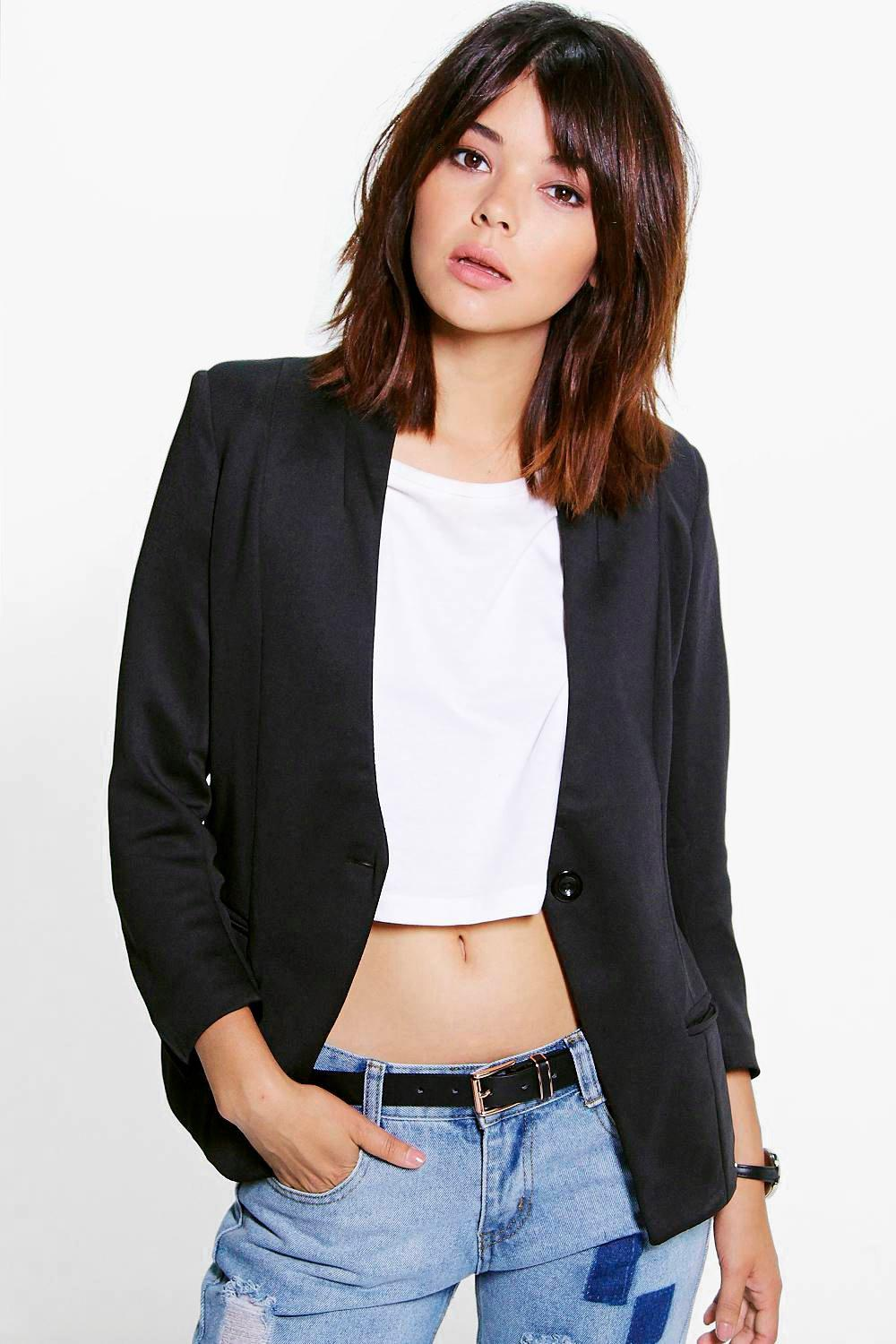 Brooke Lined Scuba Collarless Blazer