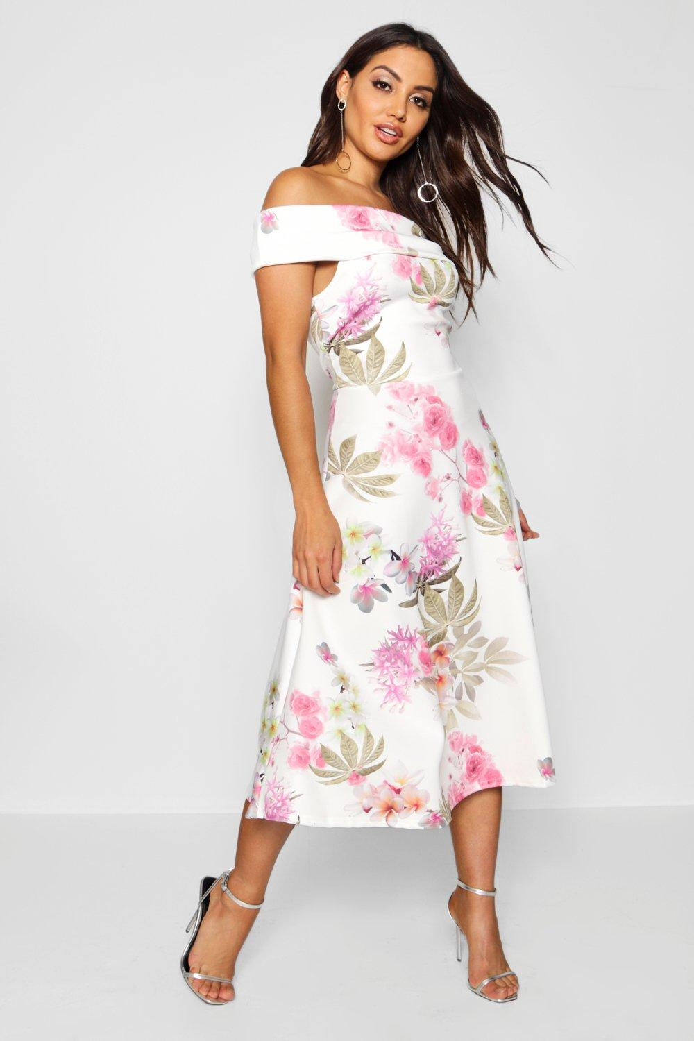Abigail floral oversized bardot midi skater dress at for Boohoo dresses for weddings