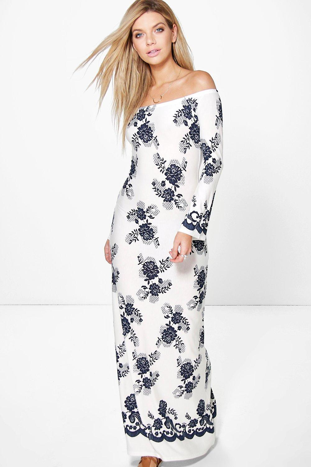 Fiona Floral Sleeve Off Shoulder Maxi Dress