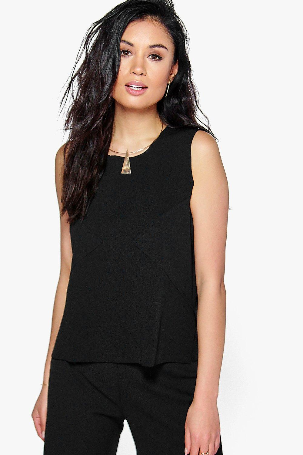 Mya Raw Edge Sleeveless Scuba Crepe Top