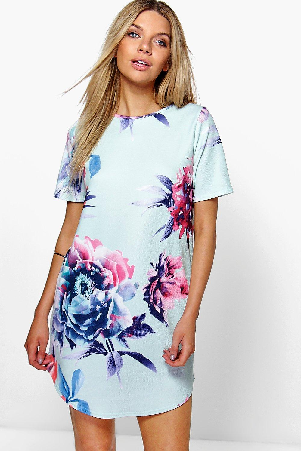 Viola Floral Curved Hem Shift Dress