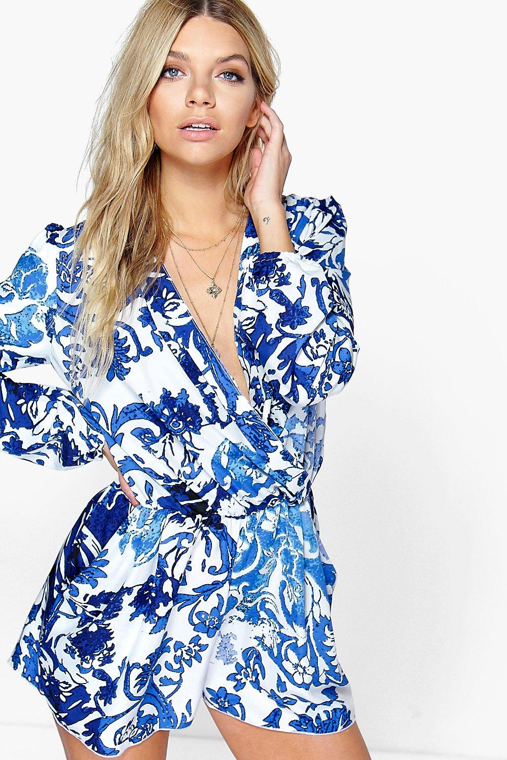 Lolah Blue Print Wrap Front Balloon Sleeve Playsuit