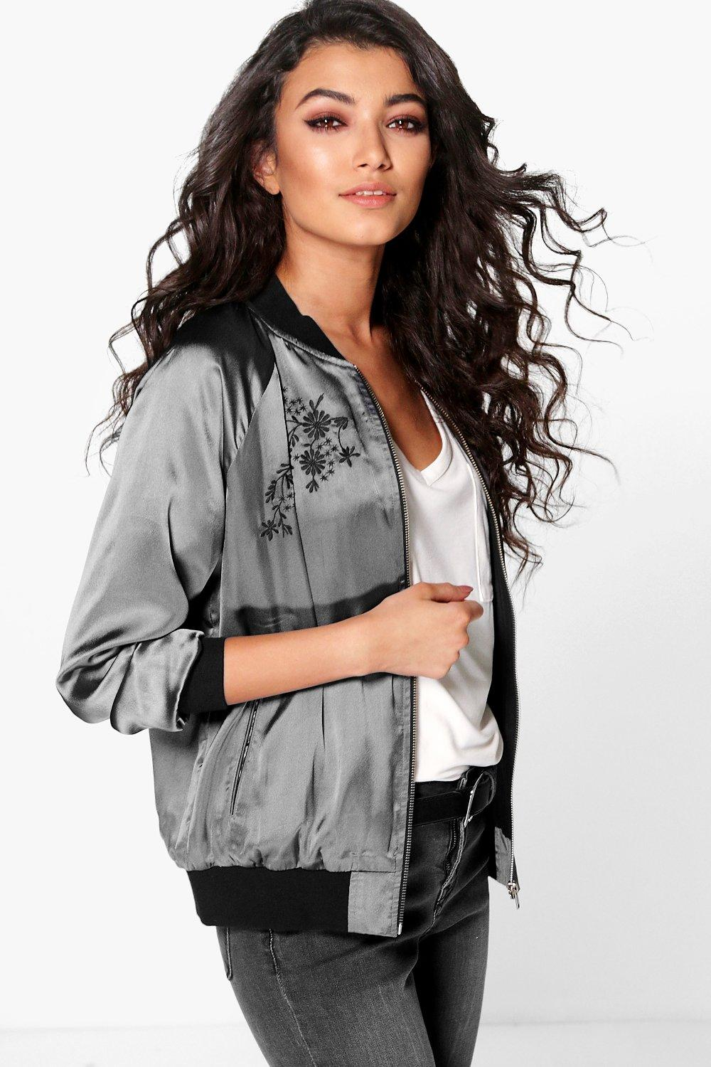 Molly Satin Embroidered Bomber