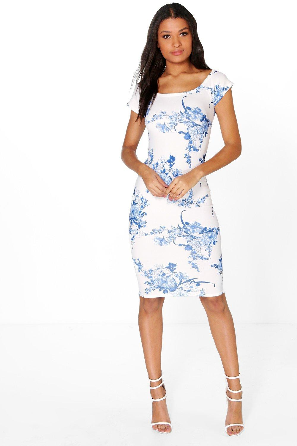 Isla Porcelain Off The Shoulder Midi Bodycon Dress