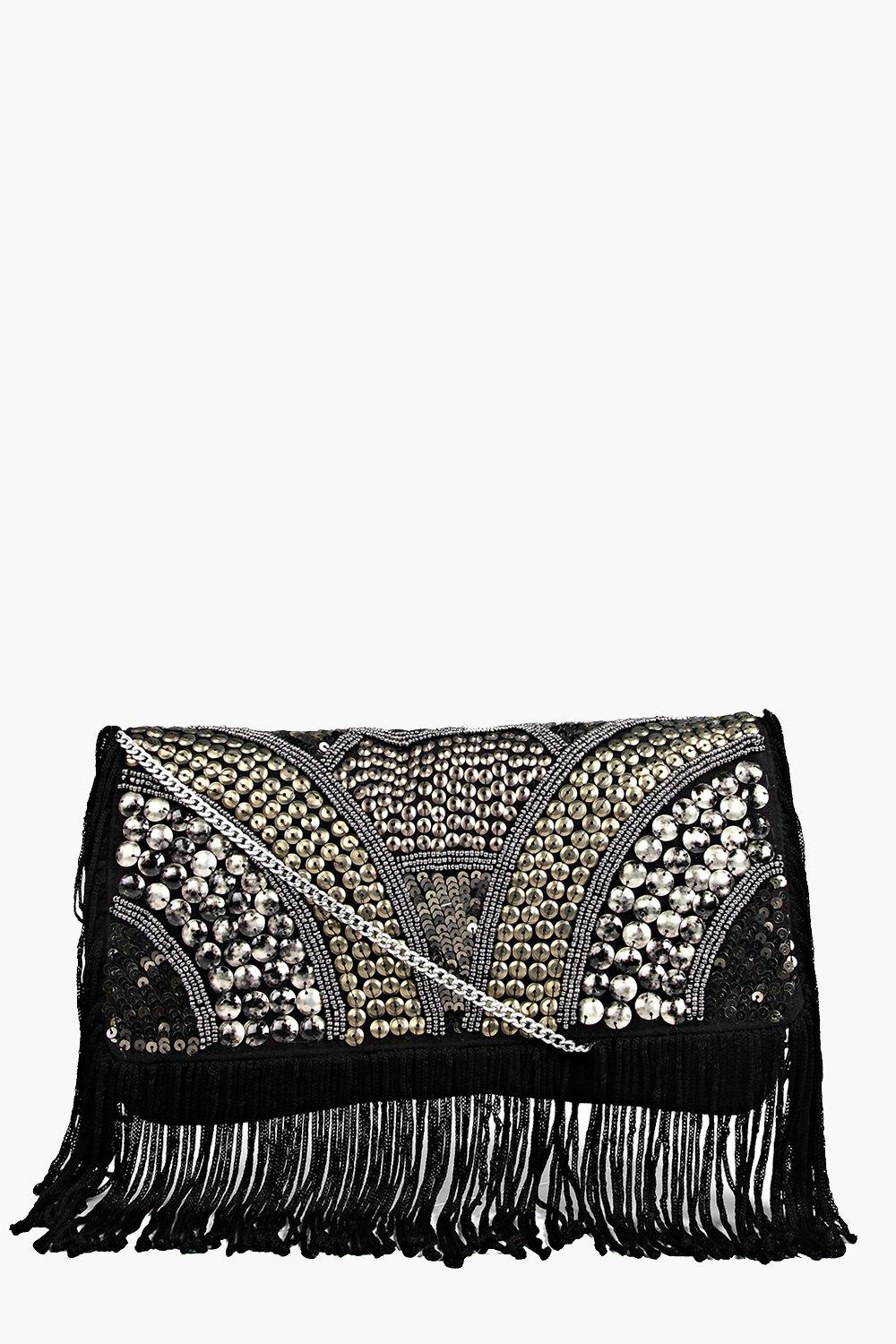 Boutique Embellished Fringed Cross Body Bag