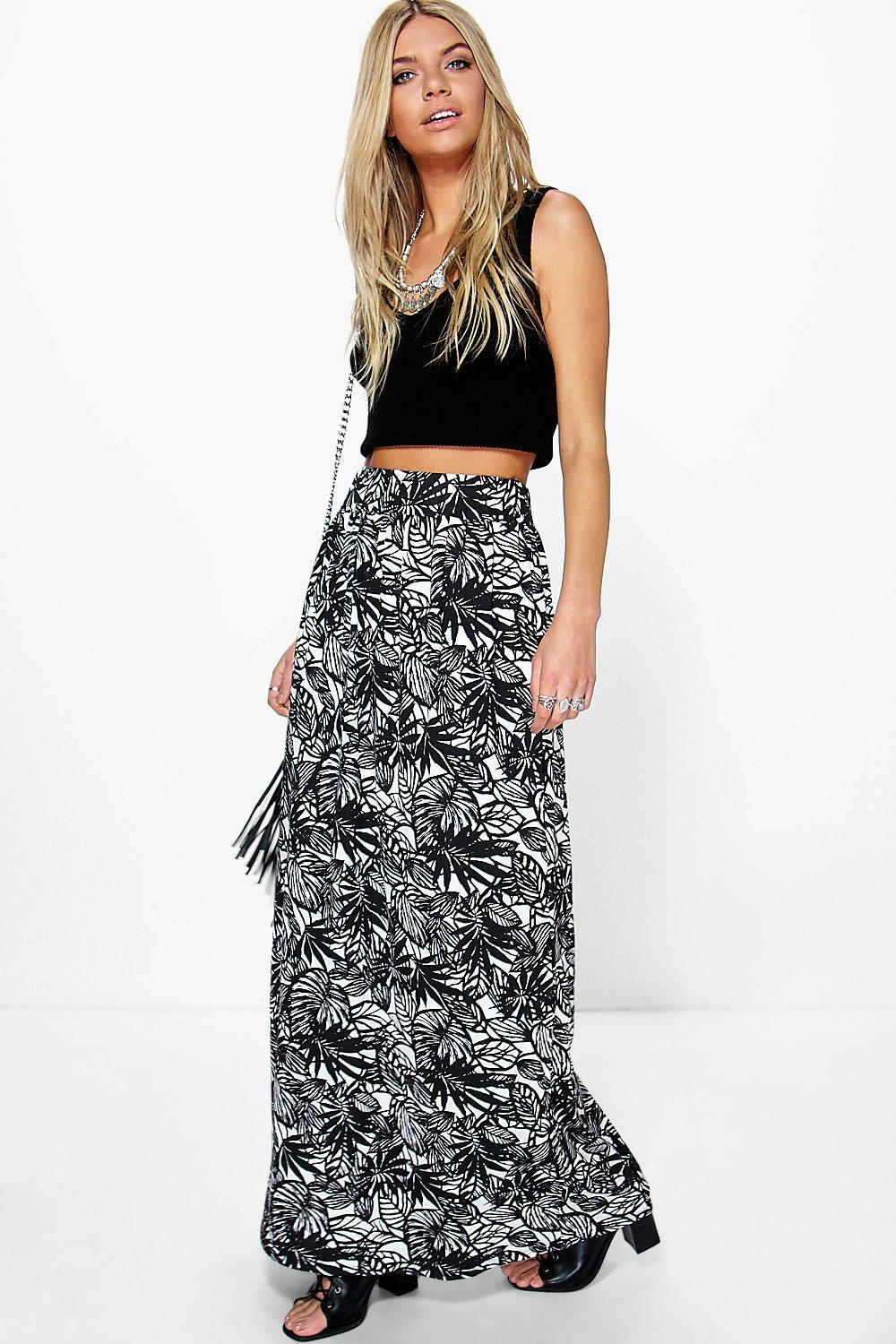 Ria Mono Leaf Print Floor Sweeping Maxi Skirt