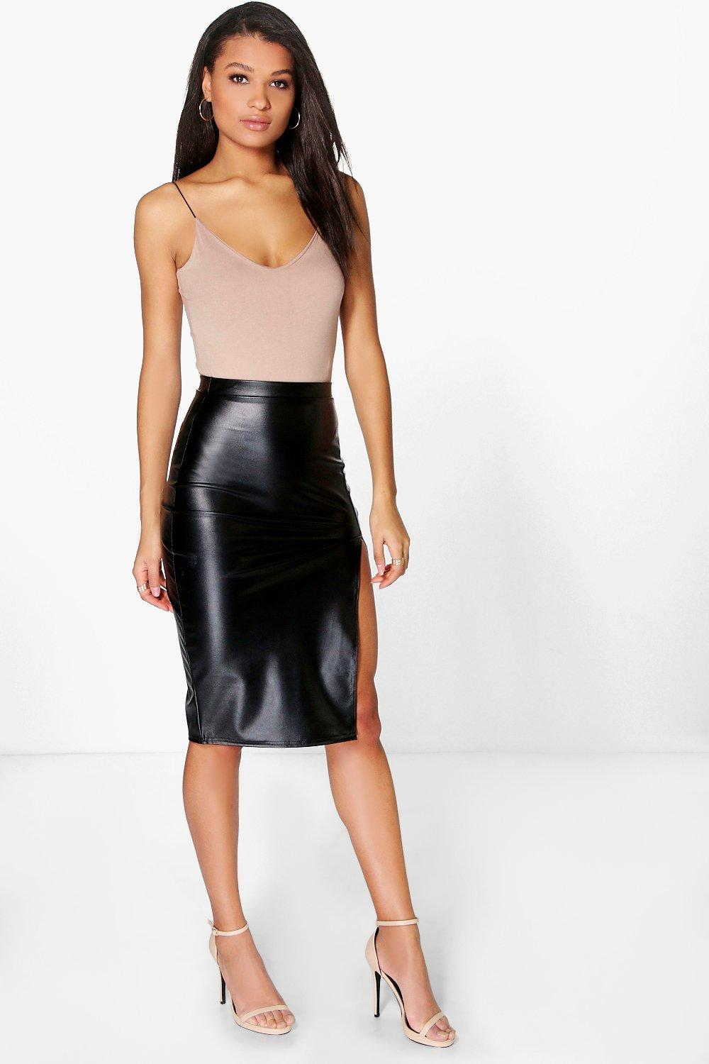Loraya Side Split Leather Look Midi Skirt at boohoo.com