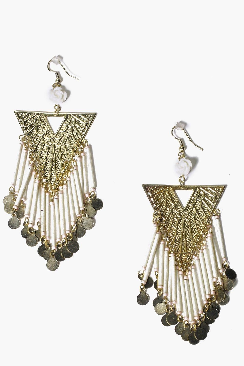Alisha Coin Tassel Statement Earrings