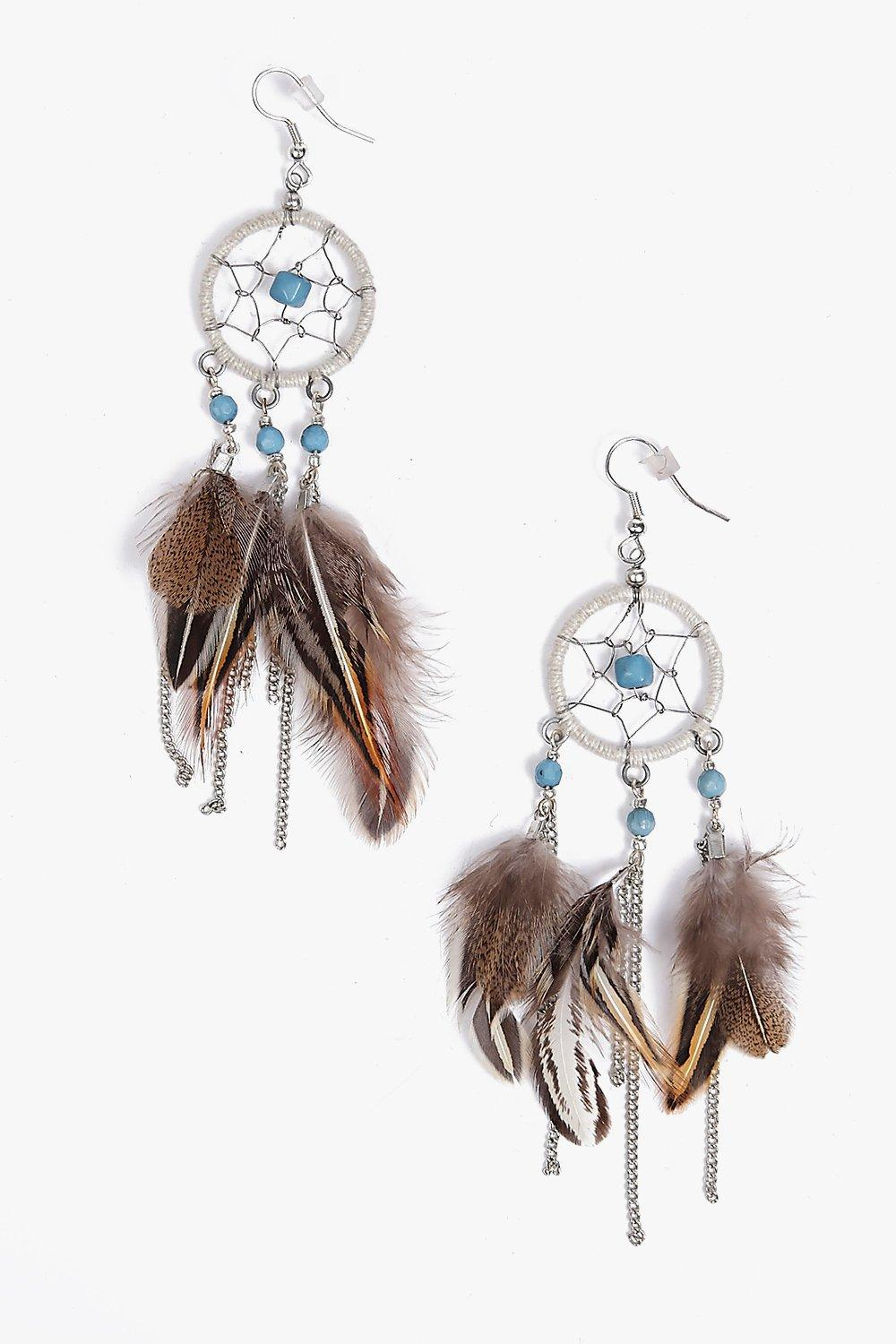 Laila Dreamcatcher Feather Drop Earrings