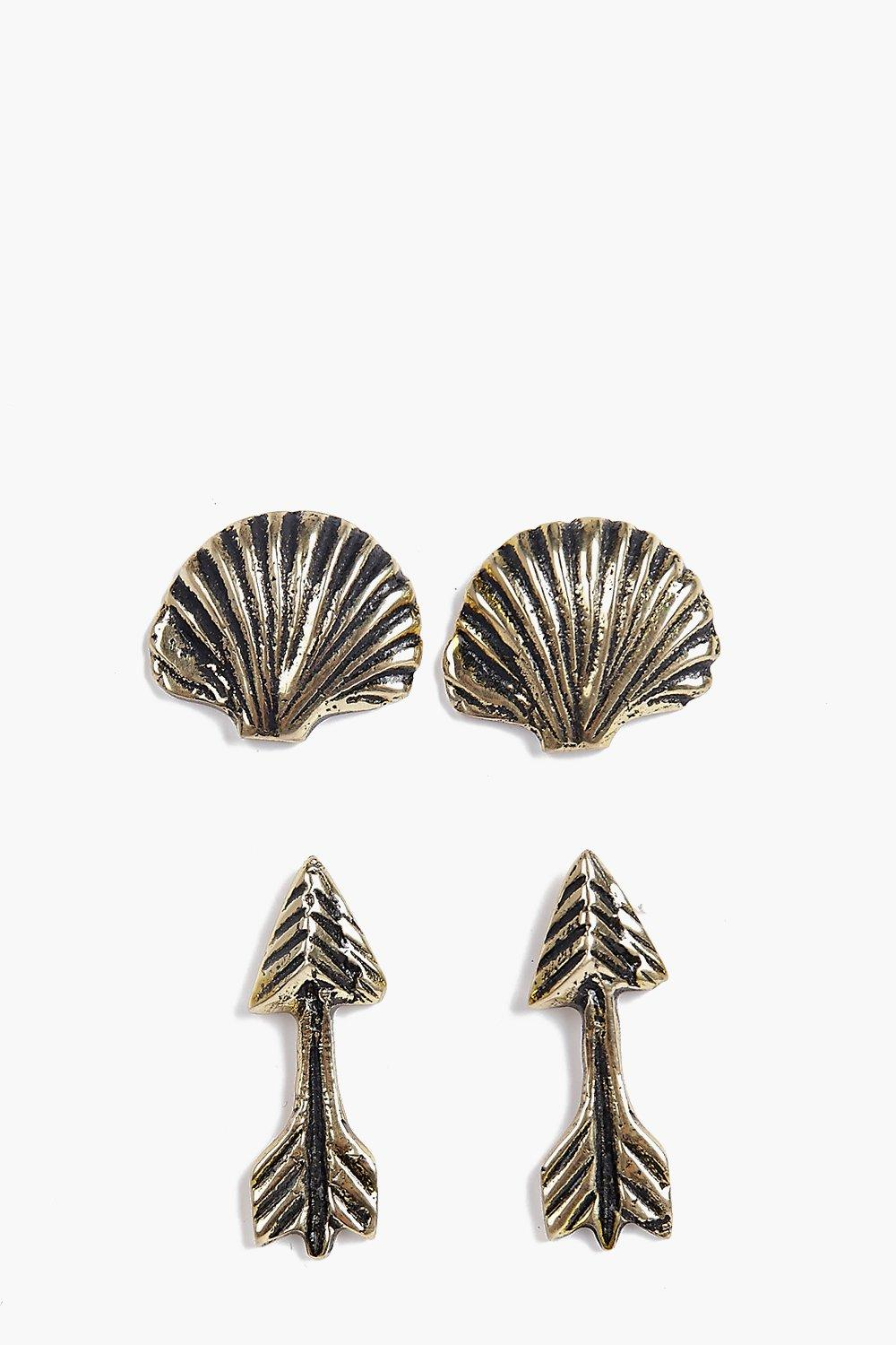 Macey Arrow And Shell Earring Pack