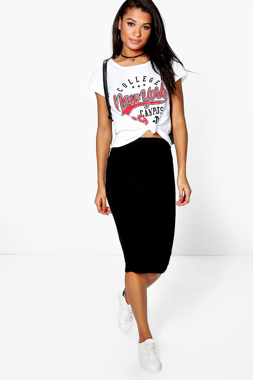 black jersey midi skirt dress