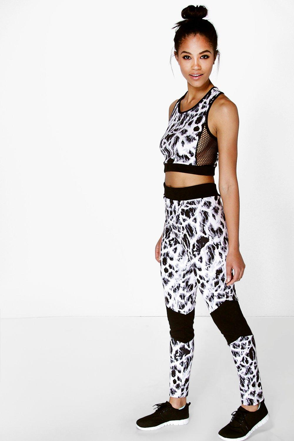 Jess Mono Print Panel Sports Running Legging