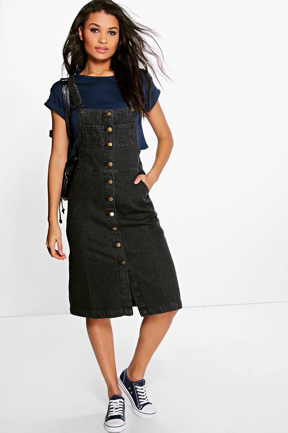 Amy Black Pinafore Style Denim Midi Dress