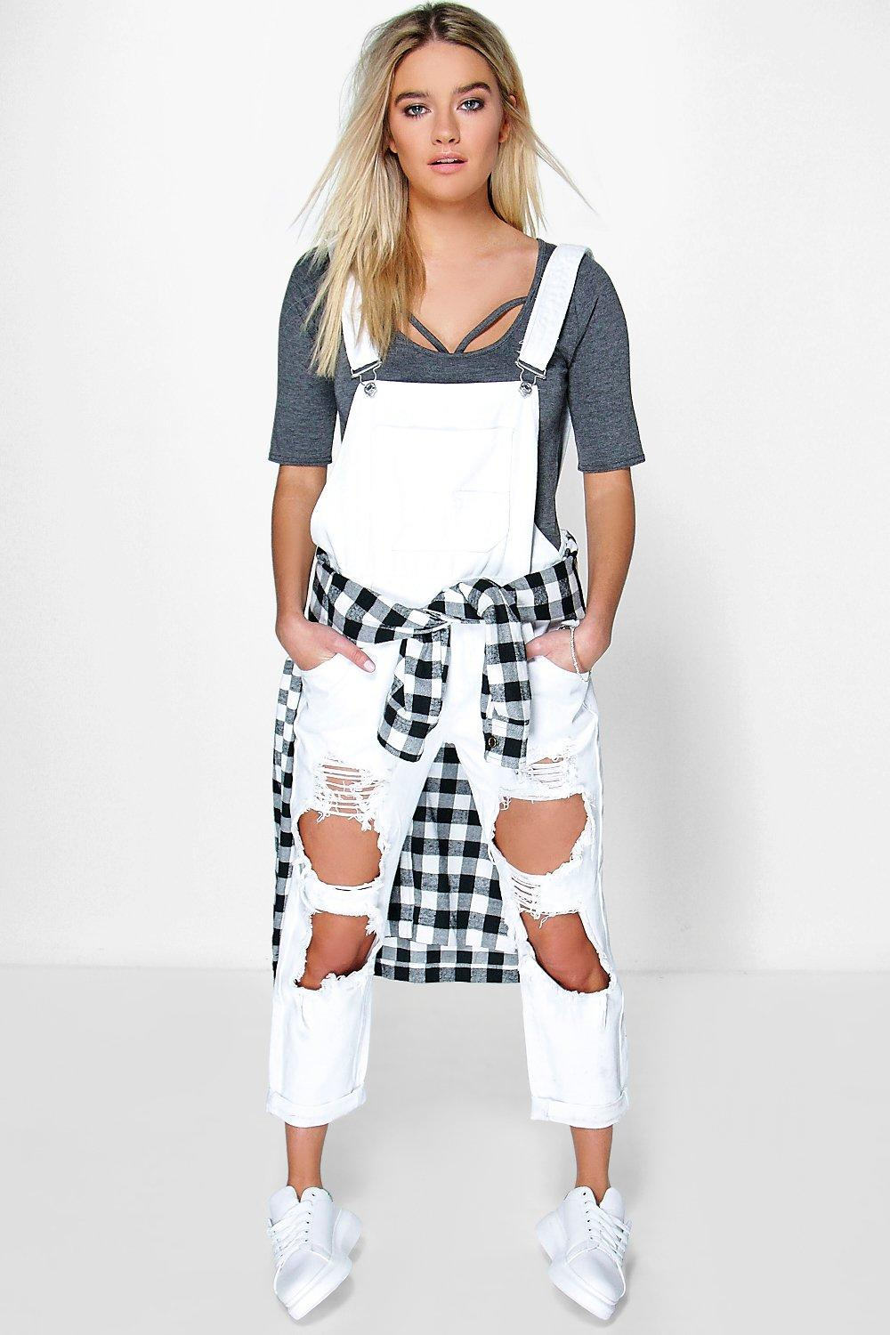 Nia Distressed Ripped White Denim Dungarees