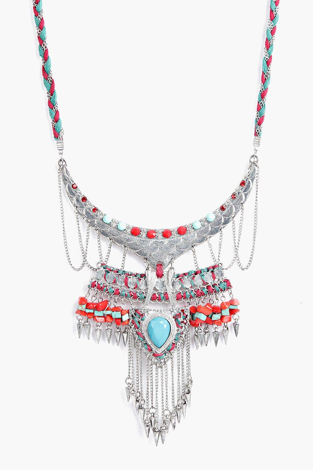 Orla Stone Detail Braided Statement Necklace