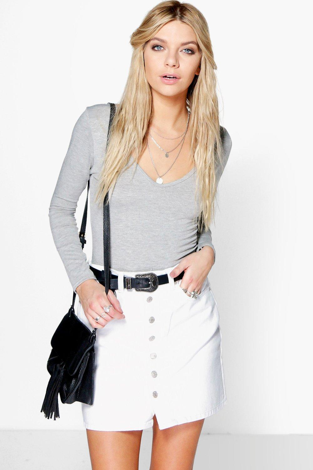 Justine White Button Through Denim Mini Skirt
