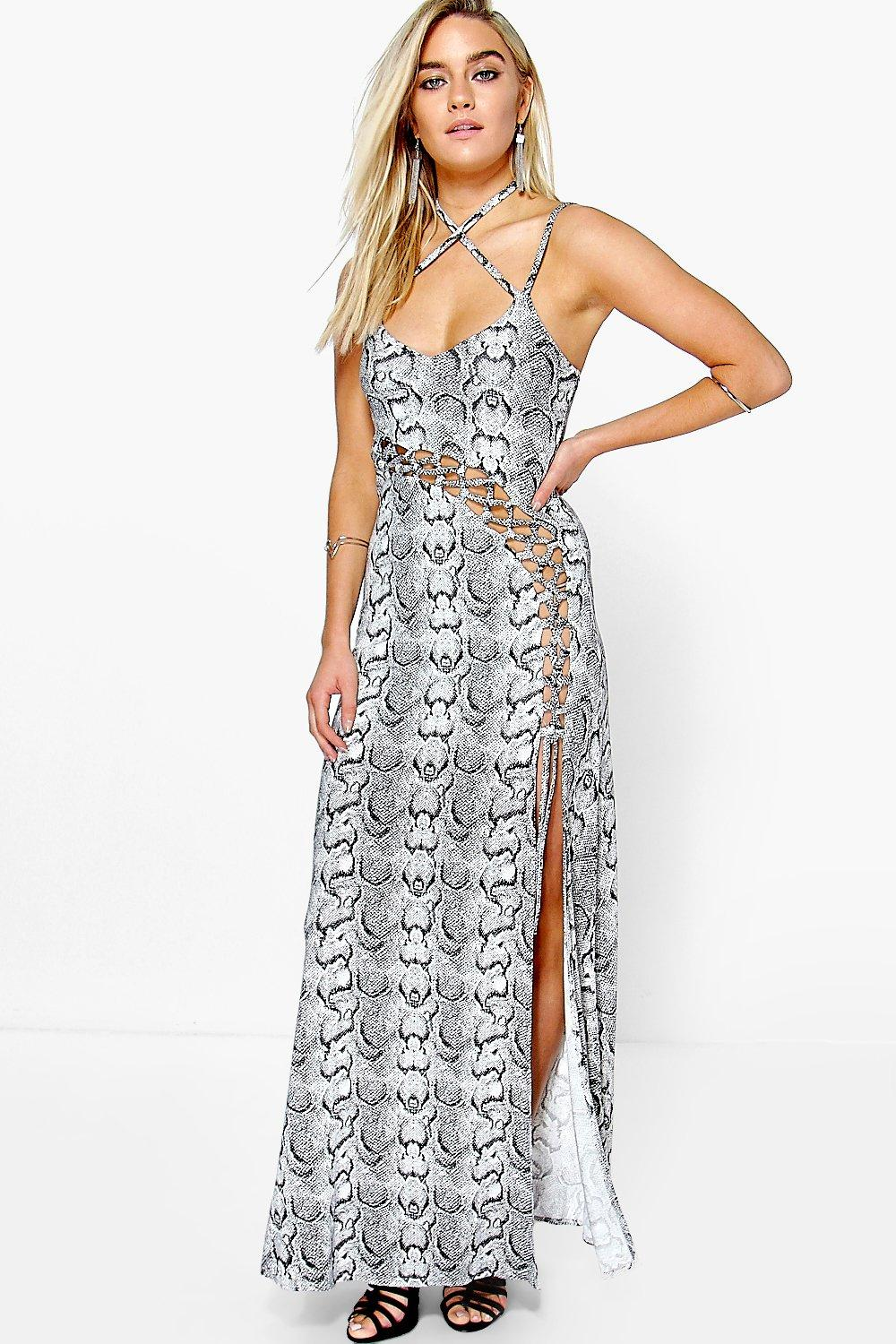 Charli Snake Print Viscose Strappy Maxi Dress