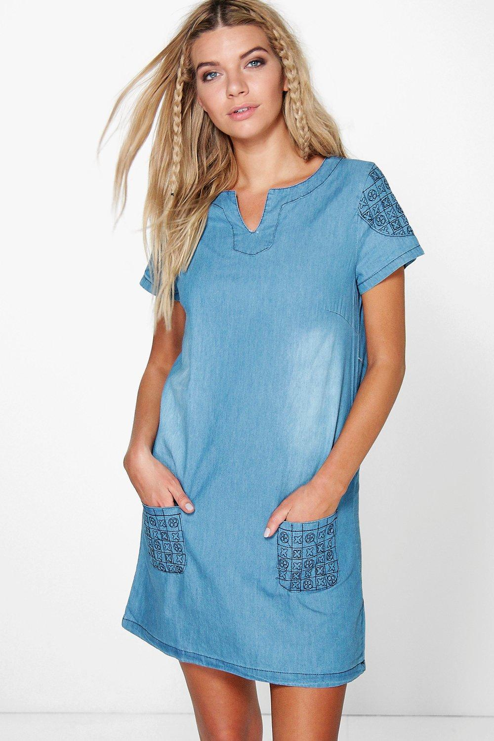 Hayley Embroidered Denim Shirt Dress