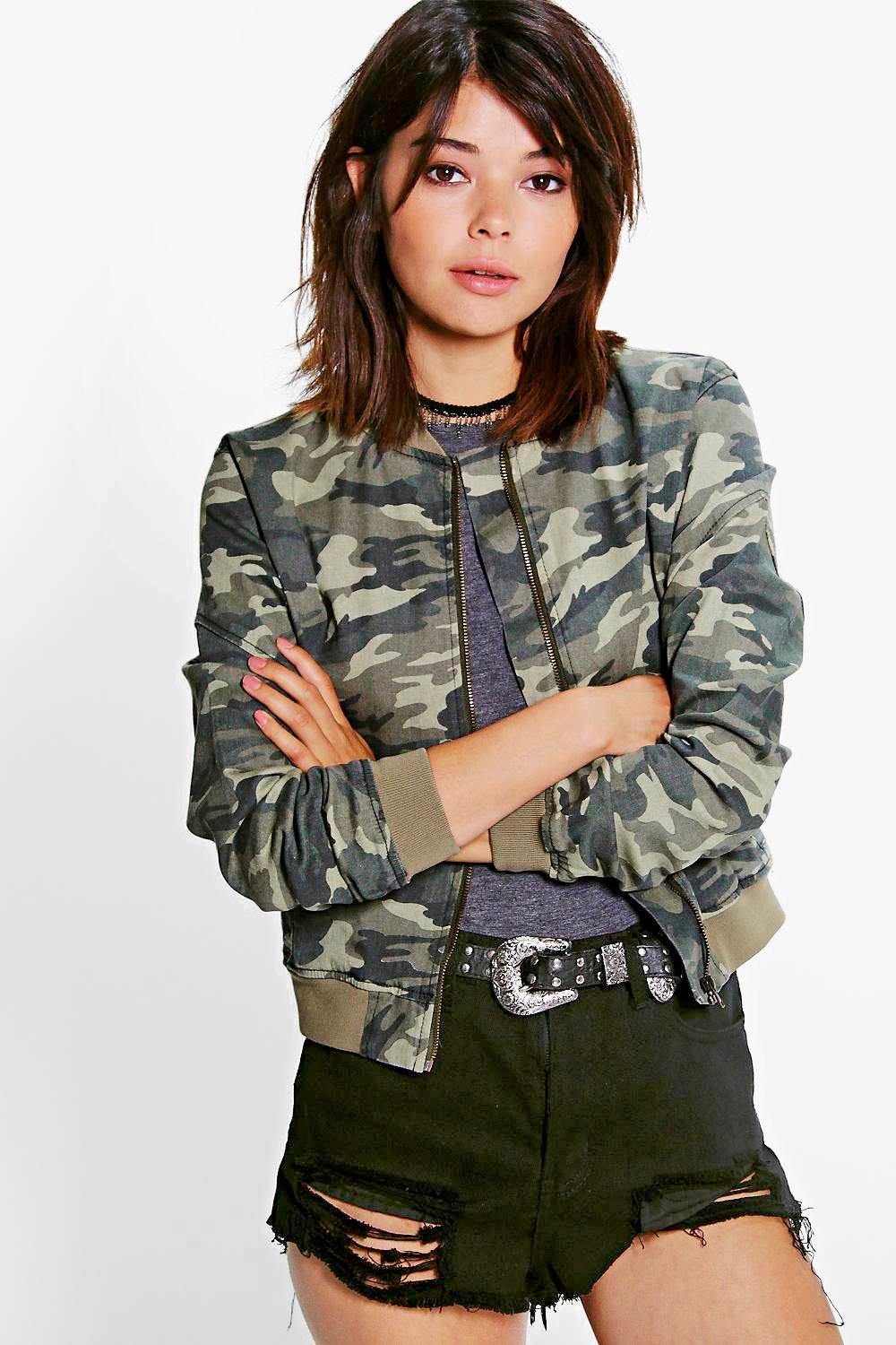 Kaley Camo Denim MA1 Bomber Jacket