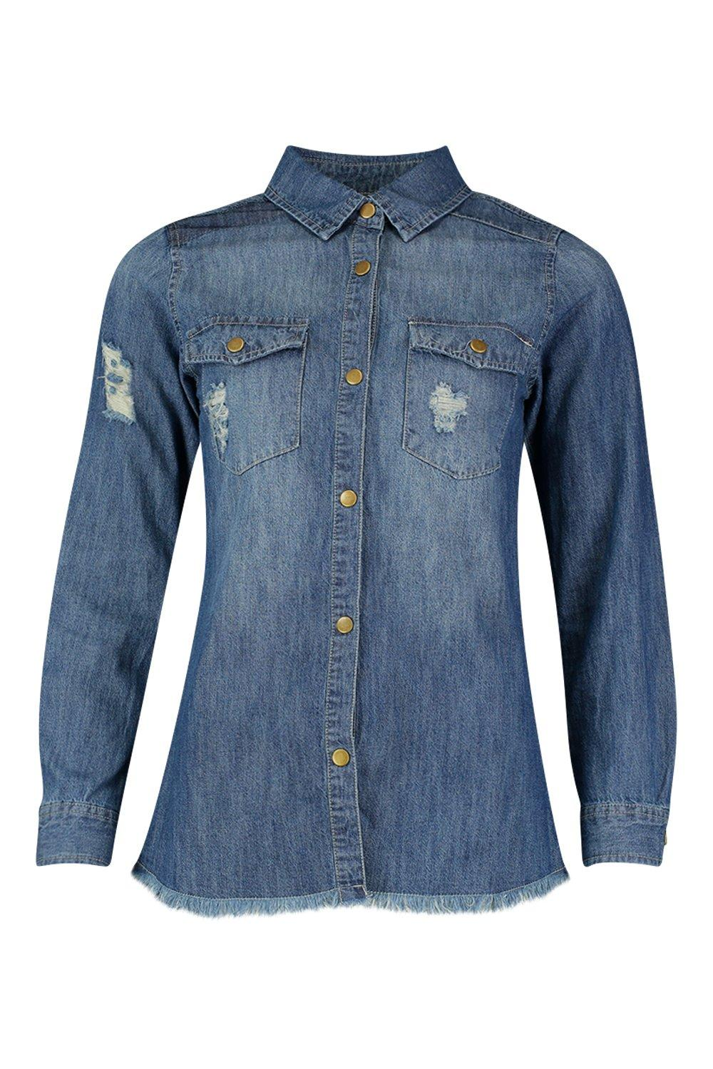 Tilly Distressed Denim Shirt