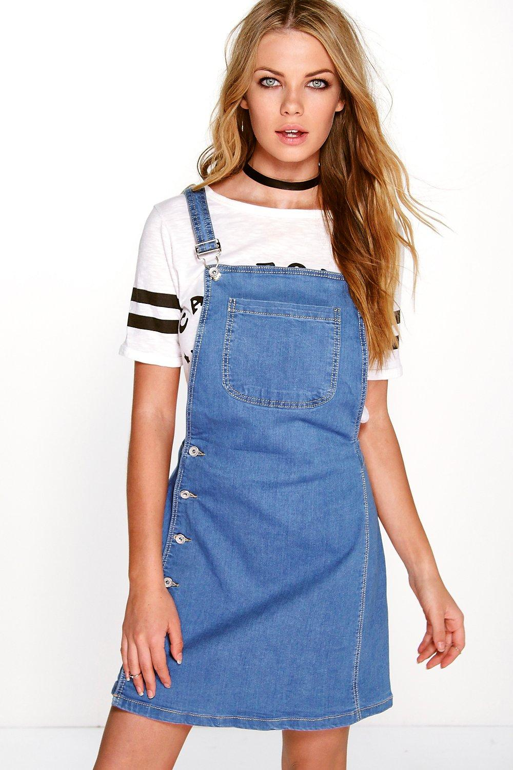 Natalie Side Button Denim Pinafore