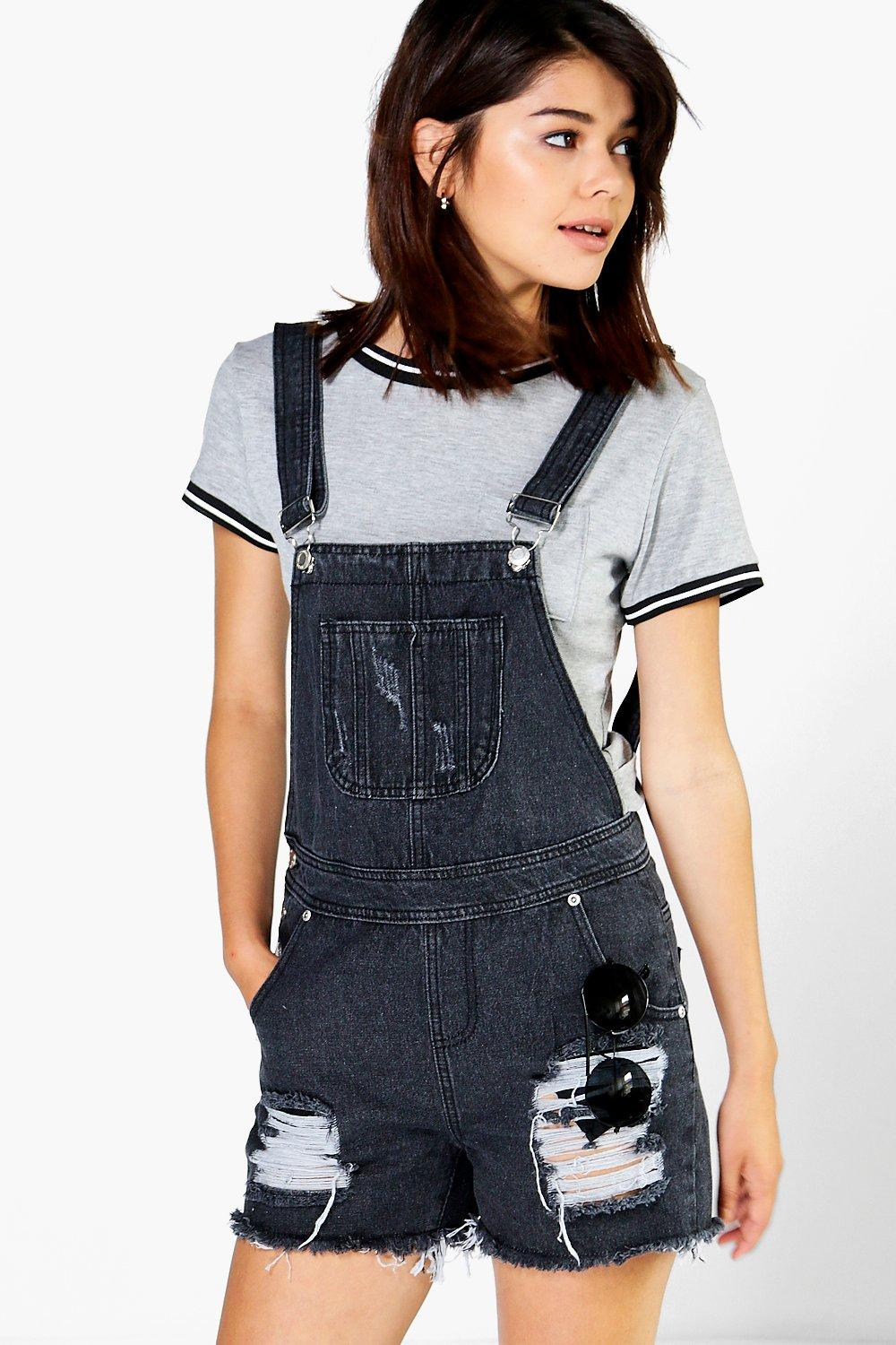 Tina Frayed Edge Denim Dungaree Short