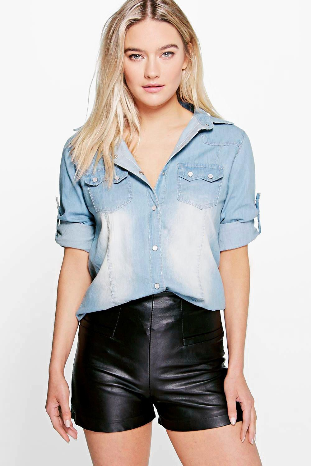 Olivia Slim Fit Mid Wash Denim Shirt