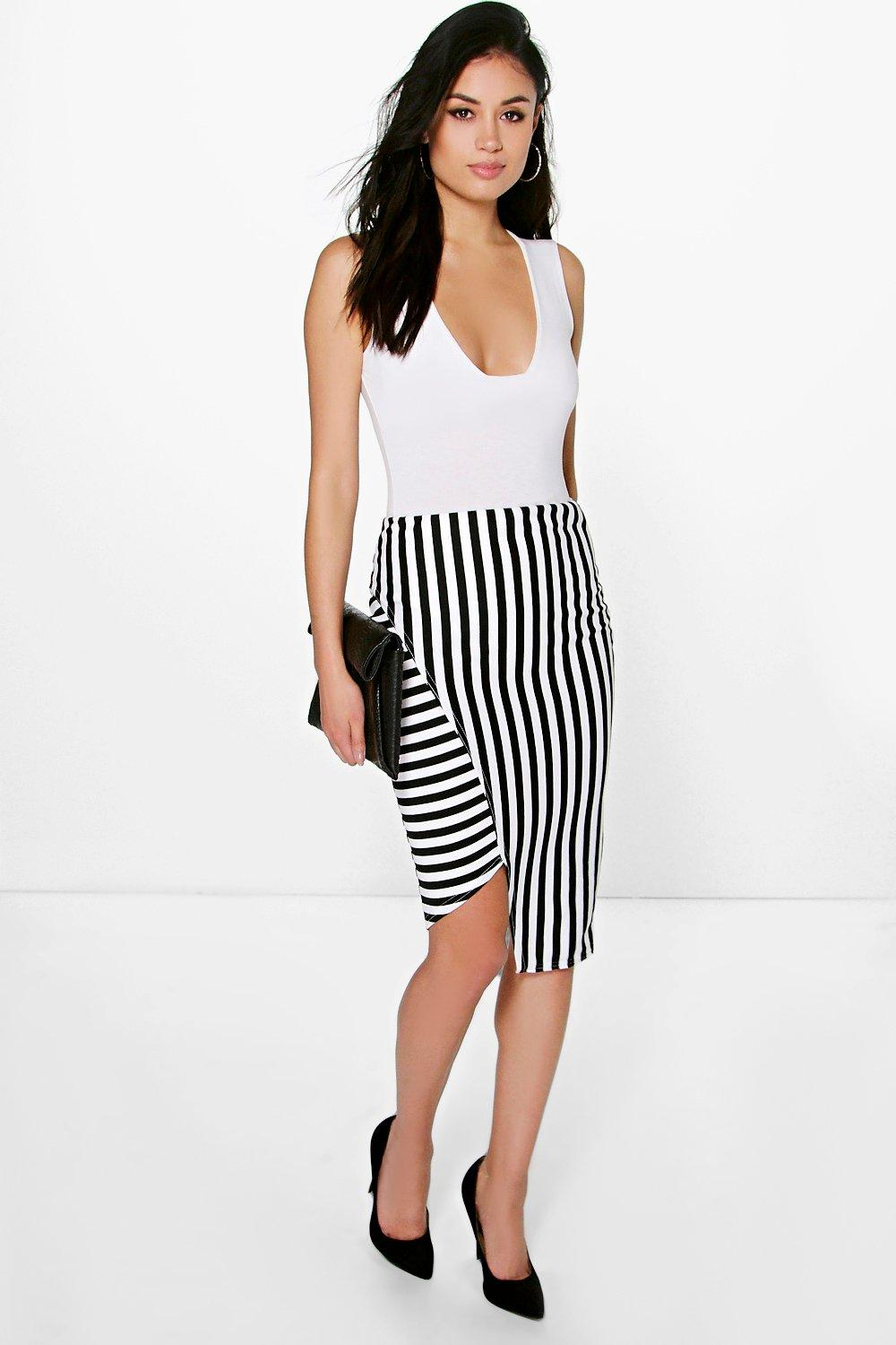 Dora Asymetric Stripe Panel Midi Skirt