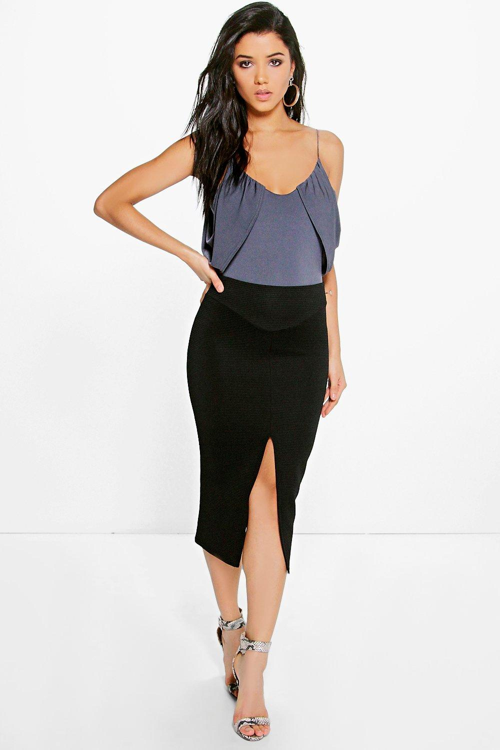 Verity Split Front Ribbed Midi Skirt