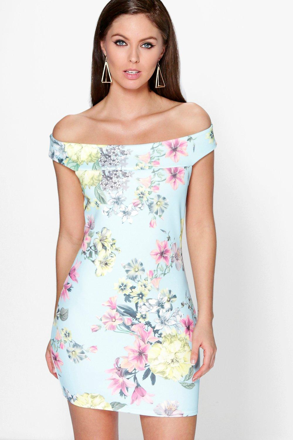 Annie Off The Shoulder Floral Bodycon Dress