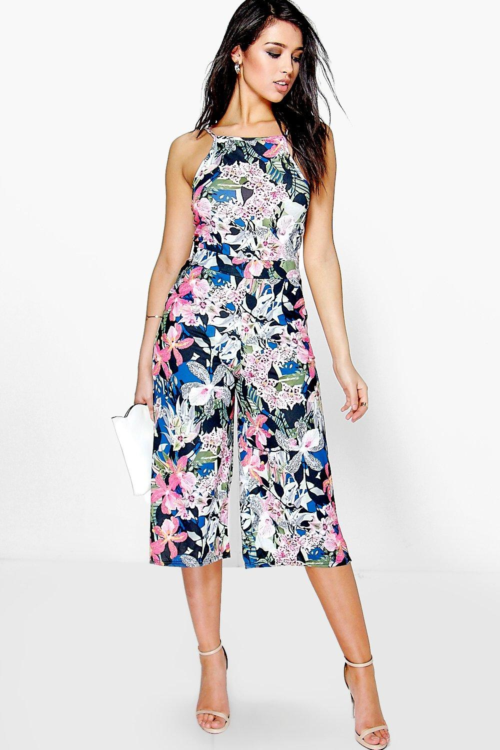 Eden floral print culotte jumpsuit at for Boohoo dresses for weddings